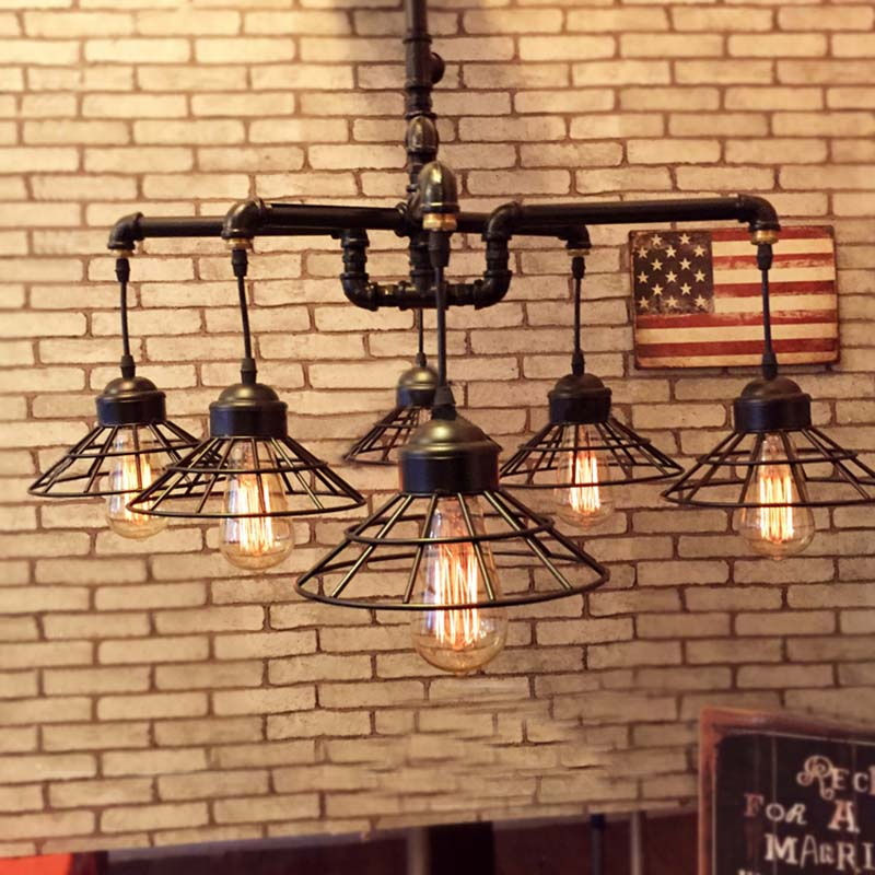 6 Lights Rustic Industrial Cage Pipe Pendant Light Loft Chandelier Ceiling Lamp