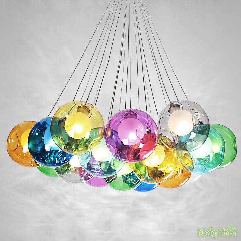 Color Bubble Glass Ball 7 37 Led Pendant Lamp Chandelier Ceiling Lights Lighting