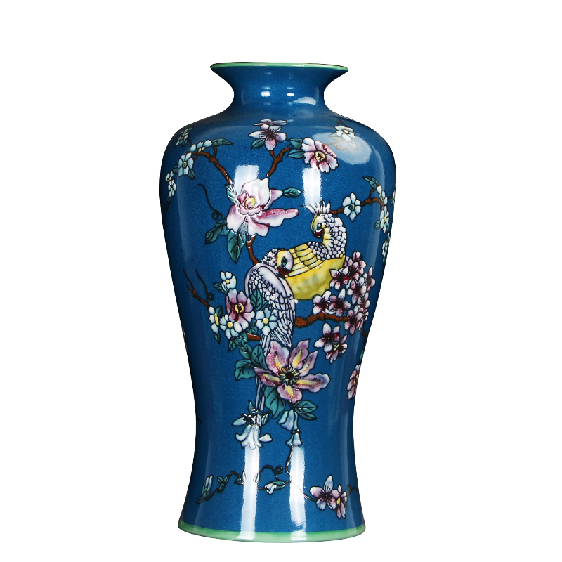 China Modern Porcelain Blue Hand Painting Flower Bird Classical Vase