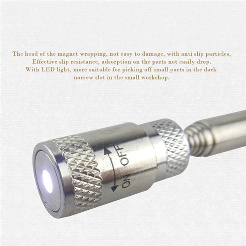2x DEL Télescopique Magnétique PickUp Stick récupération Baguette métal Gadgets Picker SS