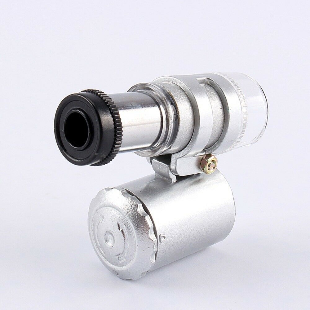 Handheld Monocular Microscope 60X Zoom LED Microscope Micro Lens Silver Protector Case 3 x LR1130 Battery Glass