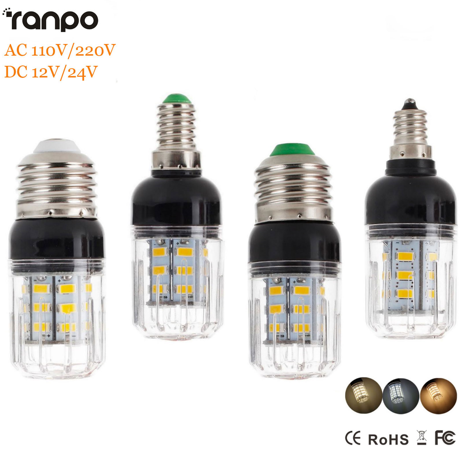 LED Corn Bulb 9-35W E27 E14 E12 E26 B22 5730 SMD Light Bright 110V 220V DC 12V