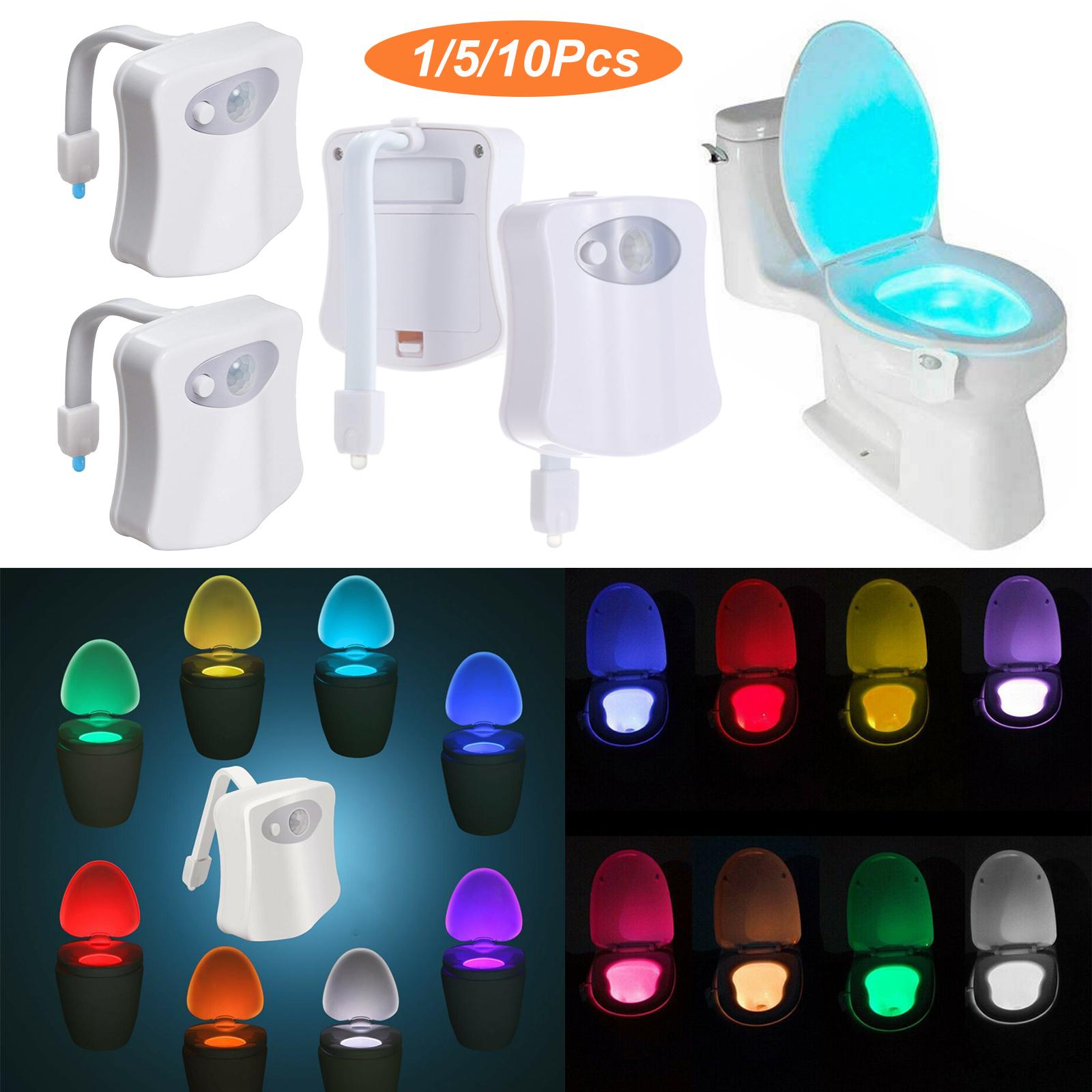 Toilet LED Light Sensor Night Motion Bathroom red green battery Auto Shutoff PIR