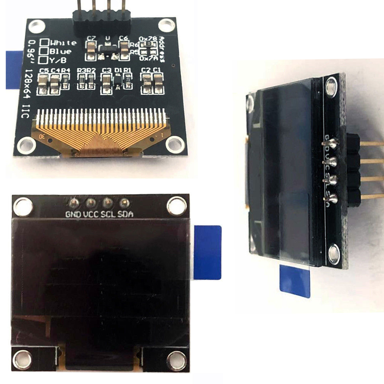 Pi 0,96 Zoll OLED Display I2C SDD1306 128x64 Modul in weiss für Arduino