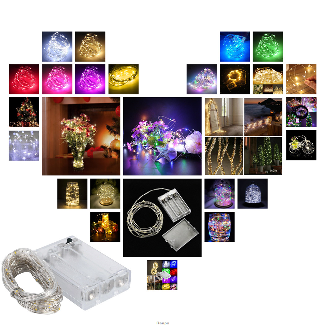 1x 2m 6ft Battery Powered Led String Light Fairy Outdoor