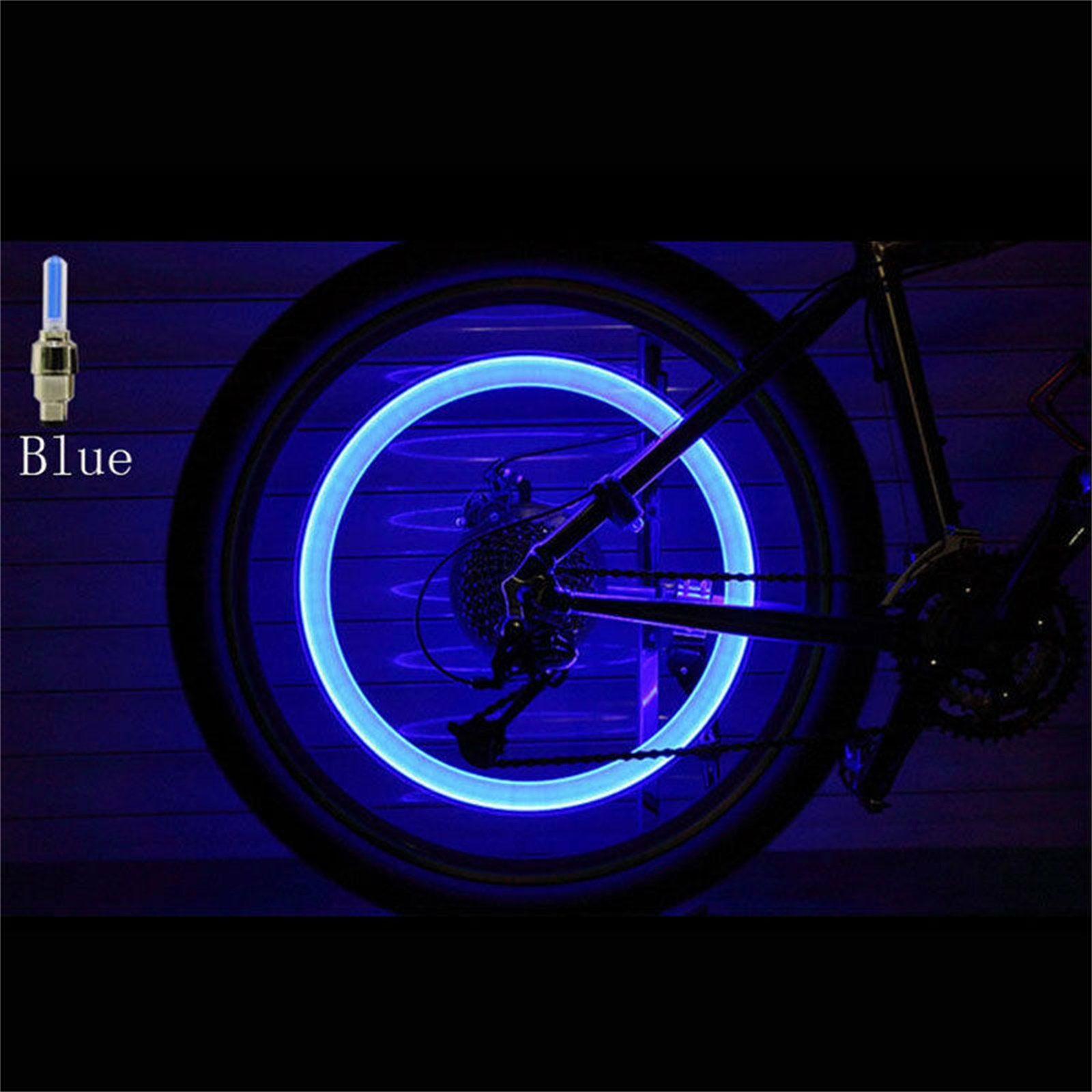10-40X Blue LED Tyre Wheel Valve Cap Lights Waterproof Car Bicycle Motorcycle TC