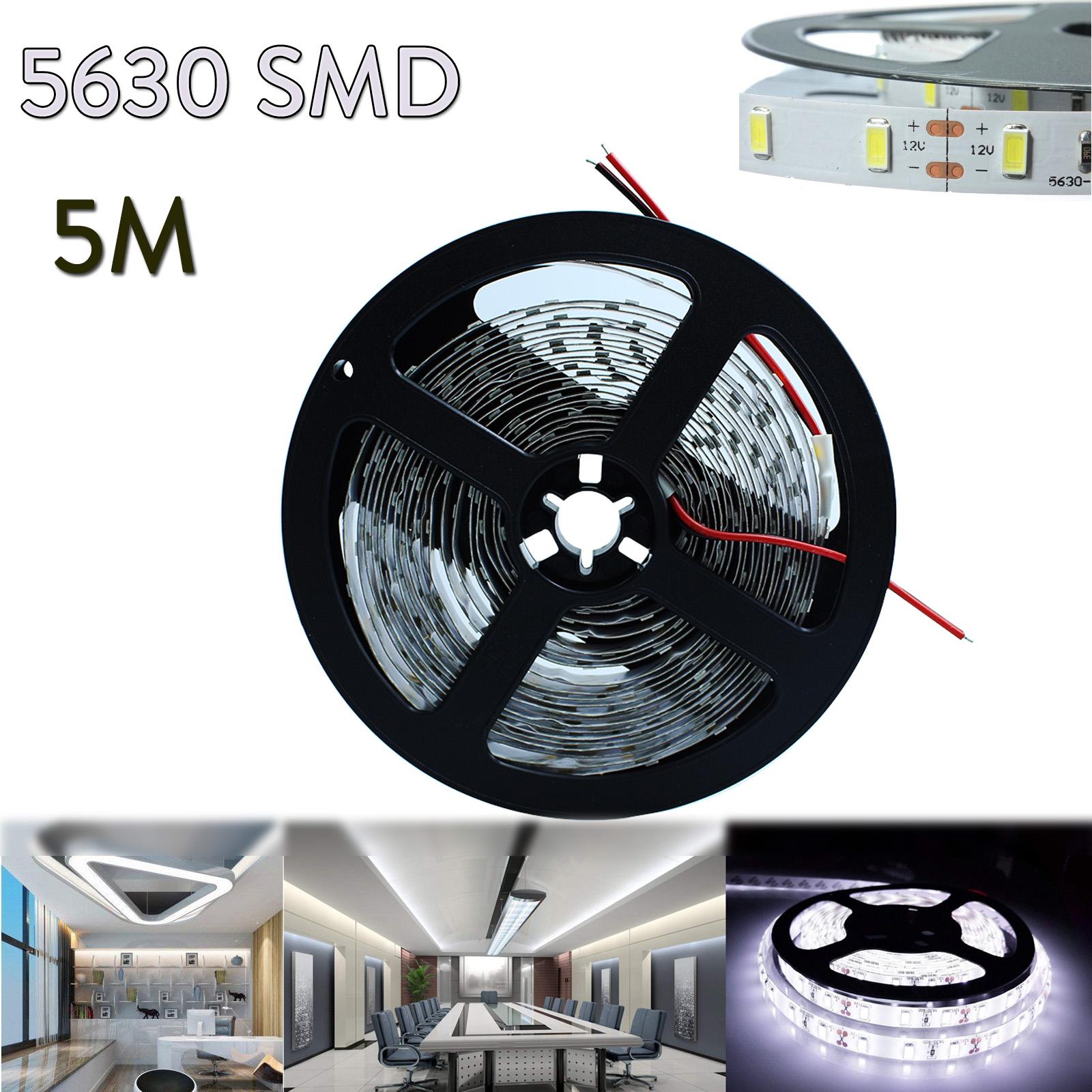 Waterproof 5M 5630 300Led SMD Cool White Flexible Light Strip Super Bright DC12V