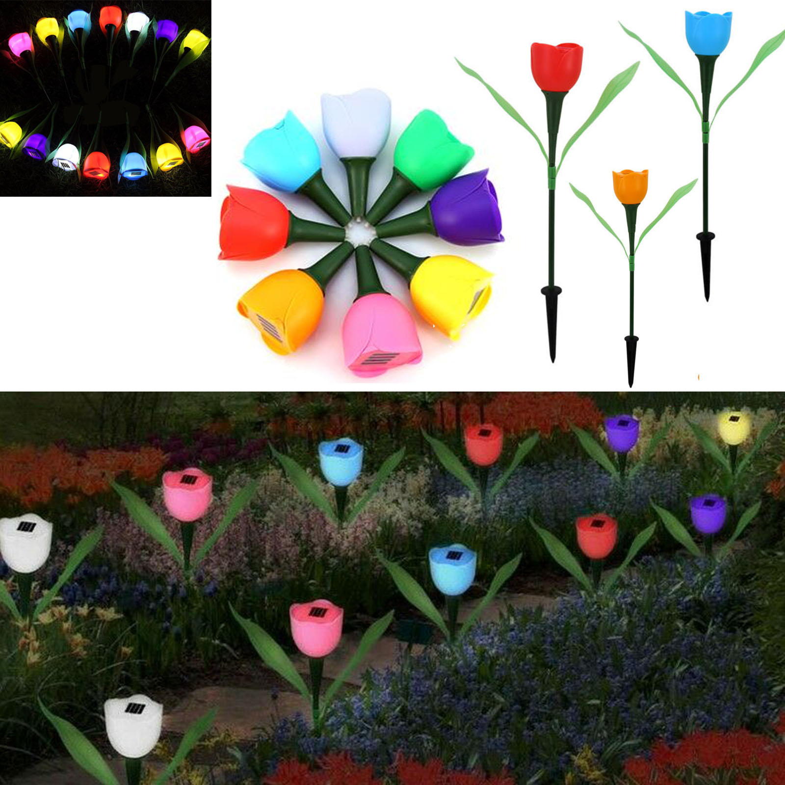 Outdoor Solar Powered Tulip Flower LED Light Yard Garden Lawn Landscape Lamp Hot