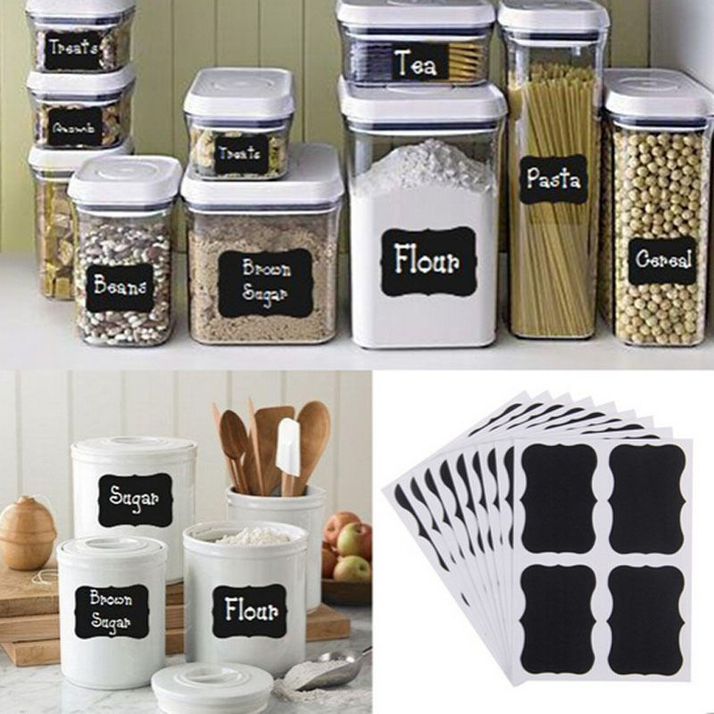 36pcs removable chalkboard blackboard cup jar jam label wall sticker