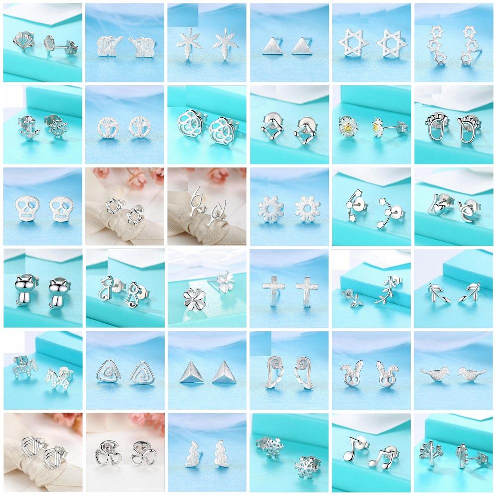 Fashion Women/'s Girl/'s 925 Silver Sterling Earrings Cute Ear Stud Jewelry Gifts