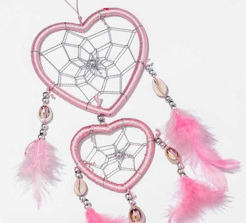 Handmade Heart-shaped Dream Catcher with Feathers car //wall hanging ornament MHR
