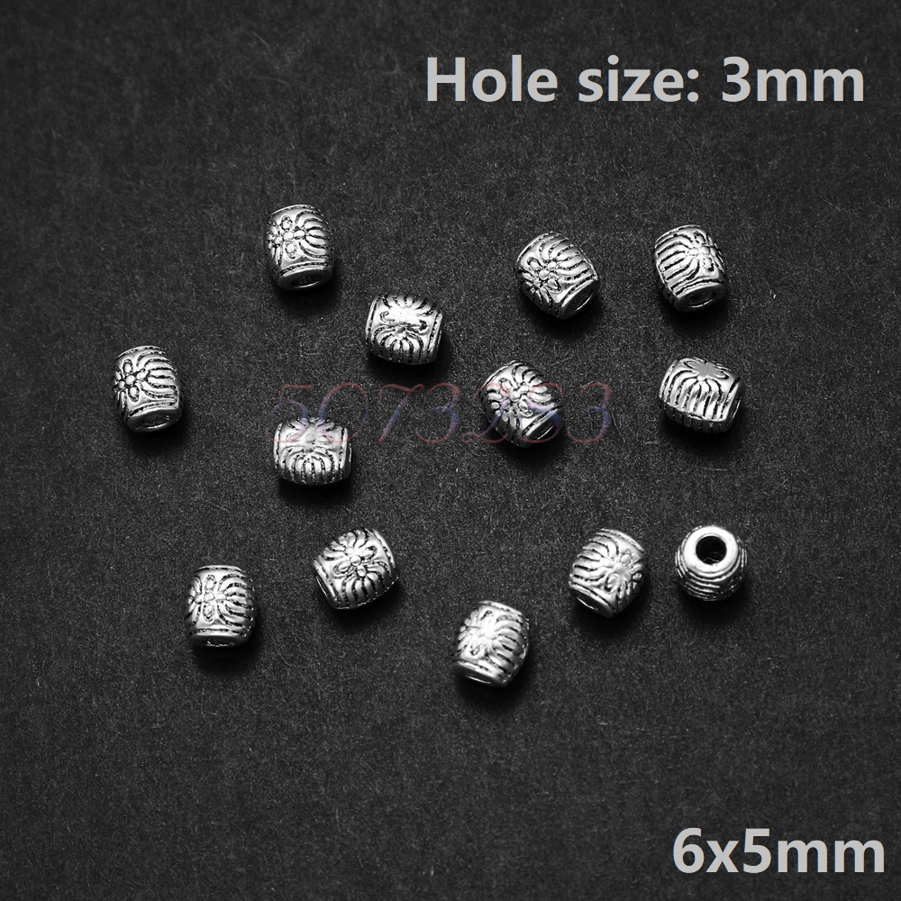 100 Pcs Tibetan Silver Charms Spacer Beads For Jewelry Making Bracelet Bead 5mm