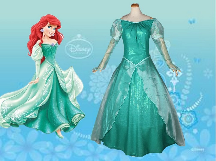 Princess Ariel Little Mermaid Costume Green Ball Gown Fancy Dress ...
