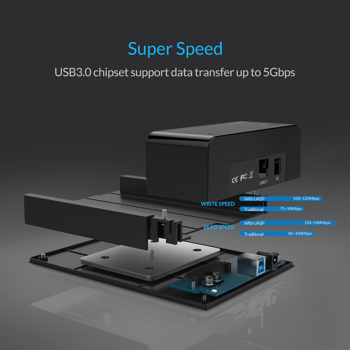 ORICO USB3.0 to SATA 2.5 & 3.5 inch HDD SSD Hard Drive Docking Station Enclosure 115