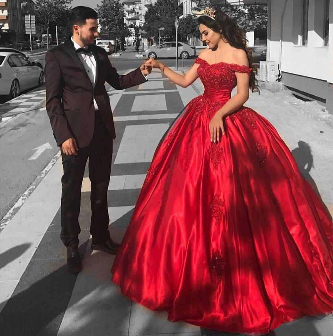 d6d96332fa1 Details about Red Satin Ball Bridal Gown Arabic Formal Evening Reception  Party Prom Dress 2018