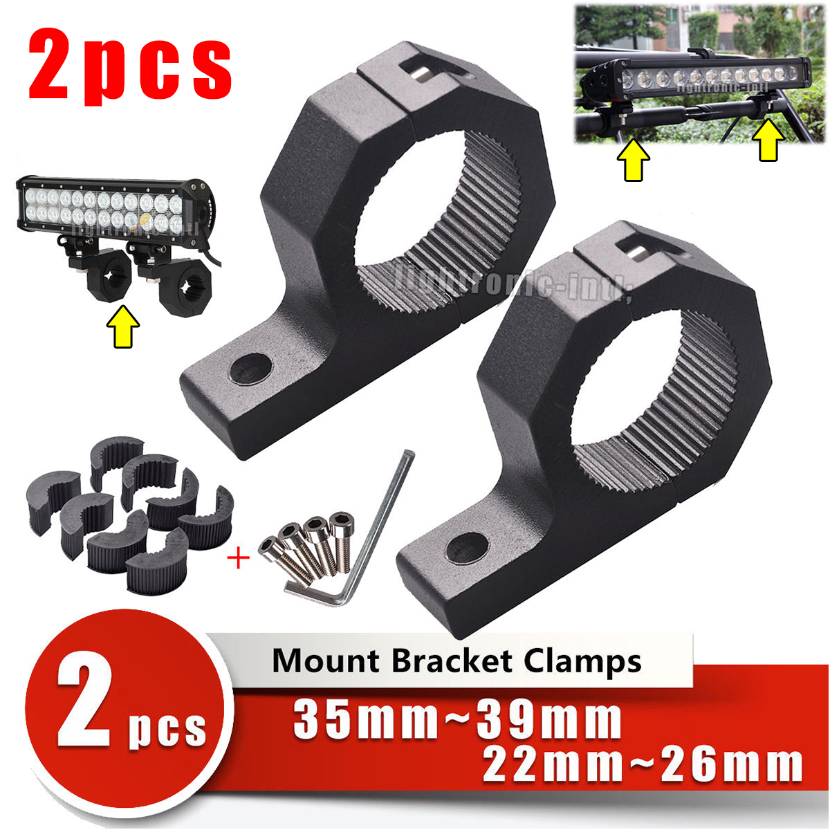 2PCS  Braket Mount Light Clamps Roof Roll Cage Car for SUV Offroad 19mm-25mm