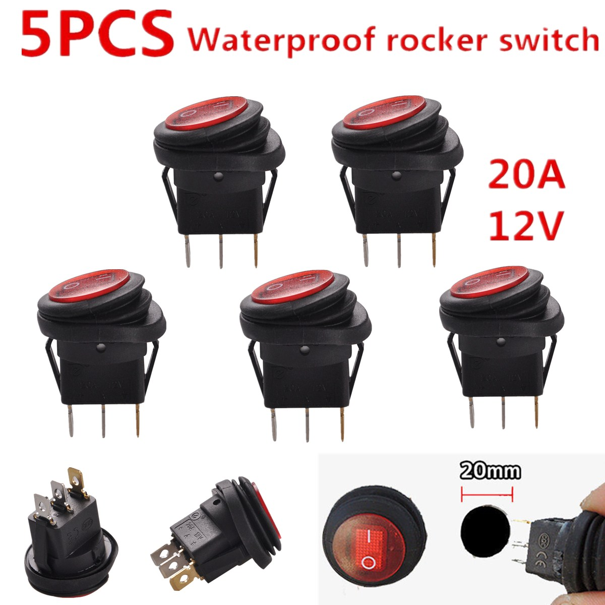 5pcs 12v 20a Waterproof Round On Off Rocker Switch Car Auto Boat Switches Mini Spst Onoff 5x Marine Red