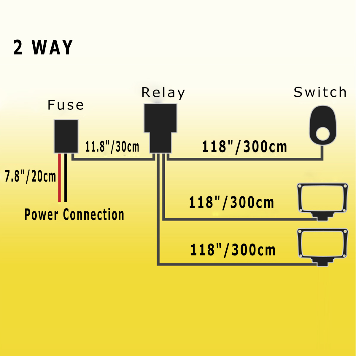 Wiring Harness Kit Fuse Switch Relay Offroad Car Light Bar Dual Led Diagram Without With Twin Lights