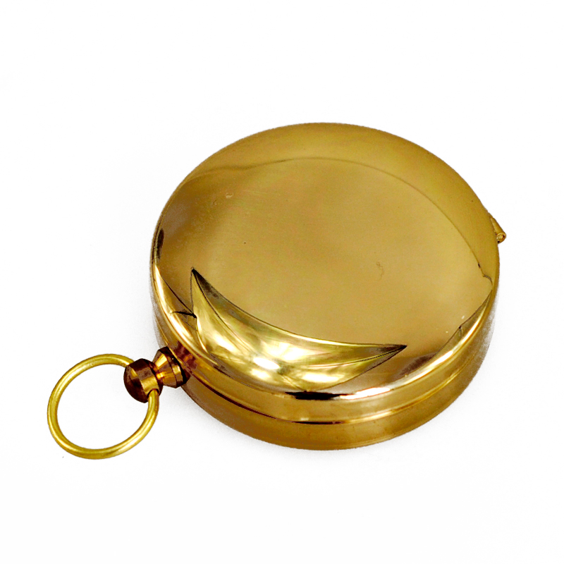Brass Pocket Golden Compass Navigation Fluorescence for Outdoor Camping Hiking