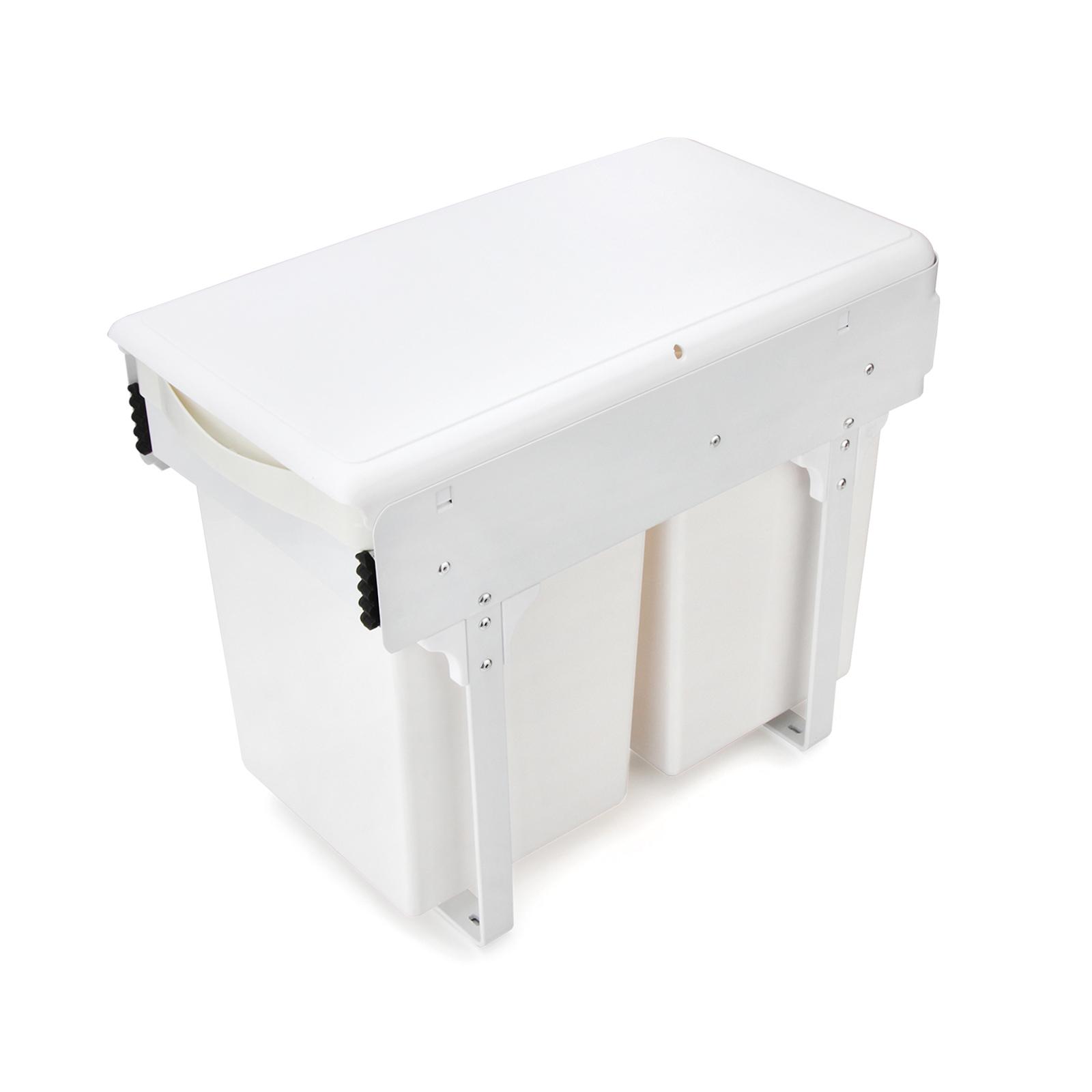 Details zu 2 x 11L Einbau Abfallsammler Abfalleimer Schrank Mülleimer  Ausziehbar Weiß Küche