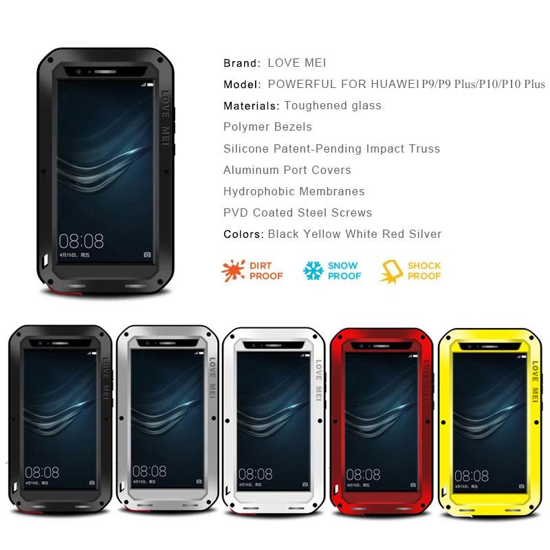 best authentic 45778 32ba5 Details about LOVEMEI Shatterproof Waterproof Dustproof Case For HUAWEI  P9/P9Plus/P10/P10 Plus