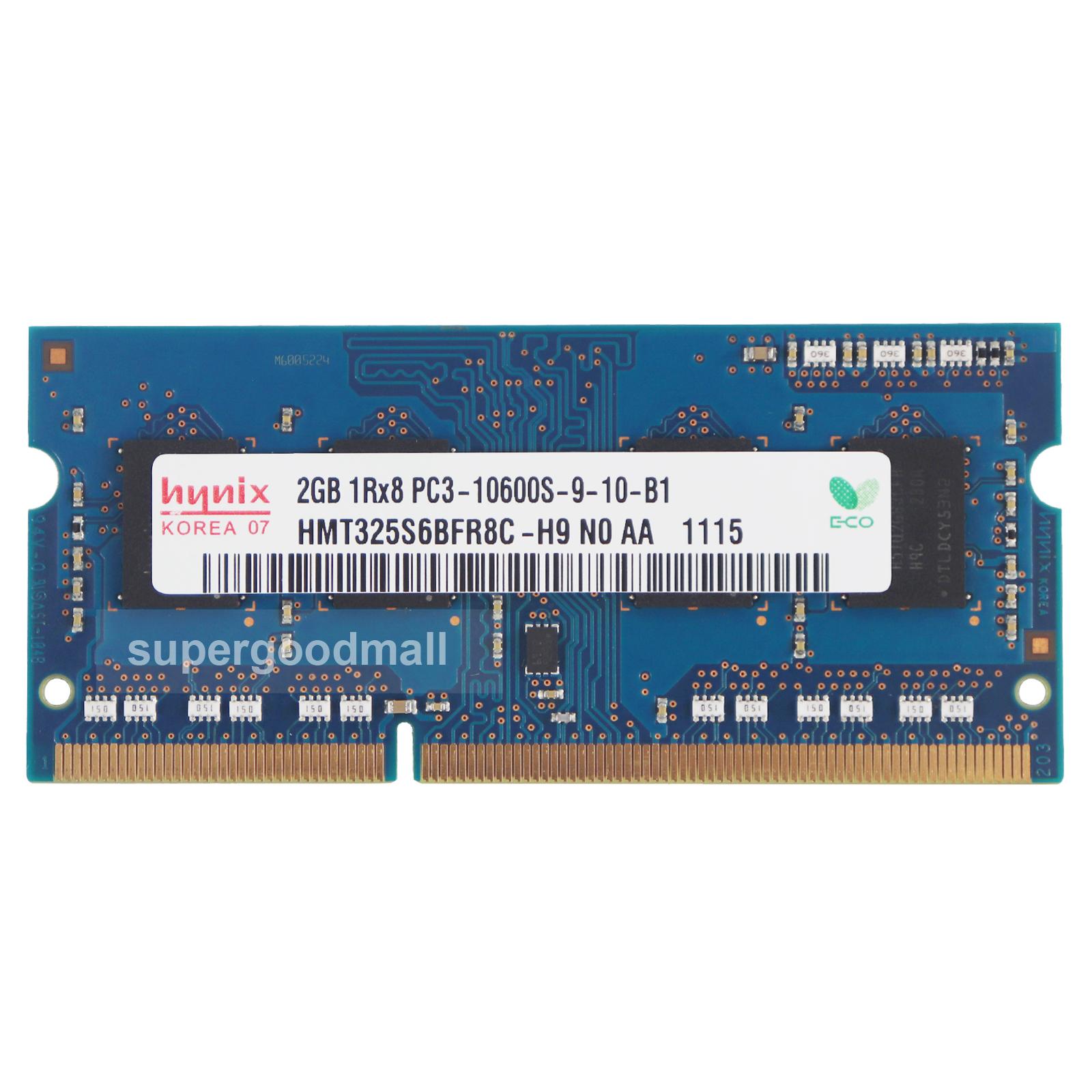 For Hynix 2GB 1RX8 PC3-10600S DDR3-1333Mhz 204Pin SODIMM Laptop Memory RAM