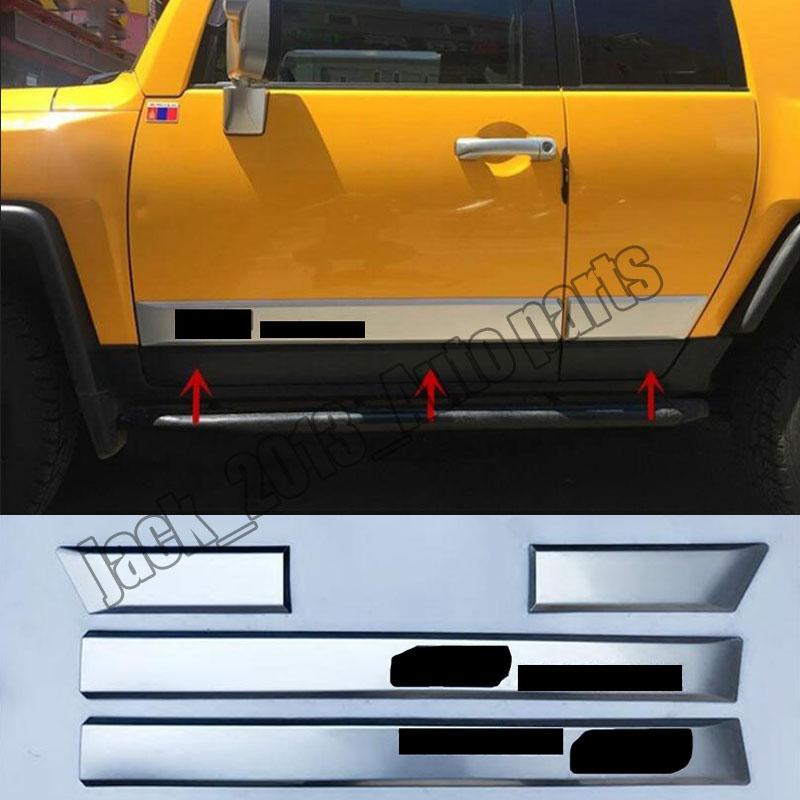 4Pcs Side Door Body Molding ABS Trim Plate For Toyota FJ Land Cruiser 2006-2016