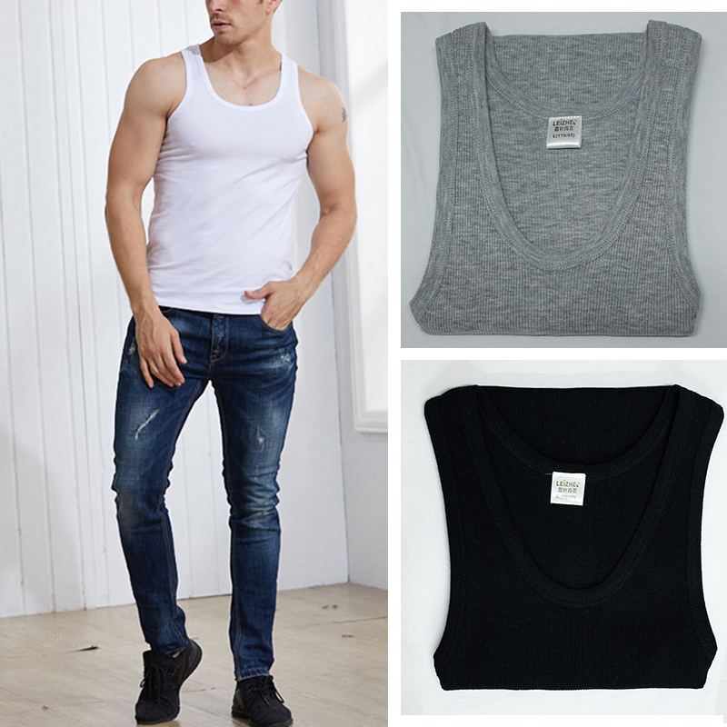 72ace5df296871 Details about 3-6 Men s Black Tank Top 100% Cotton A-Shirt Wife Beater  Ribbed Pack Undershirt