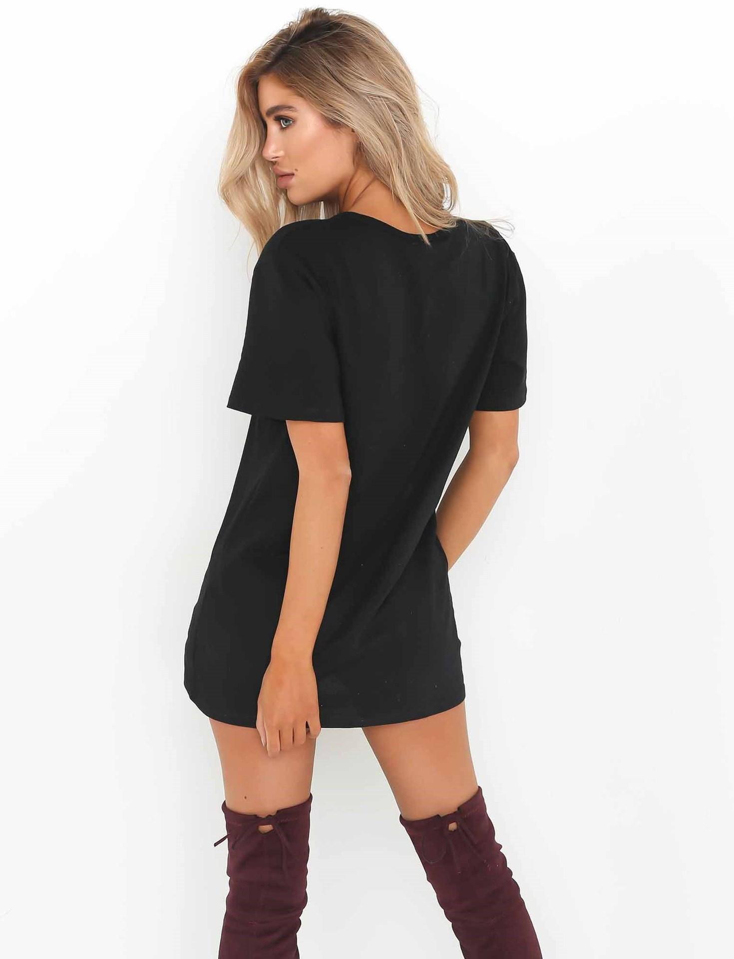67b4b27e2 UK Womens Choker V Neck Long Top T-shirt Ladies Casual Party Mini Dress  Blouse