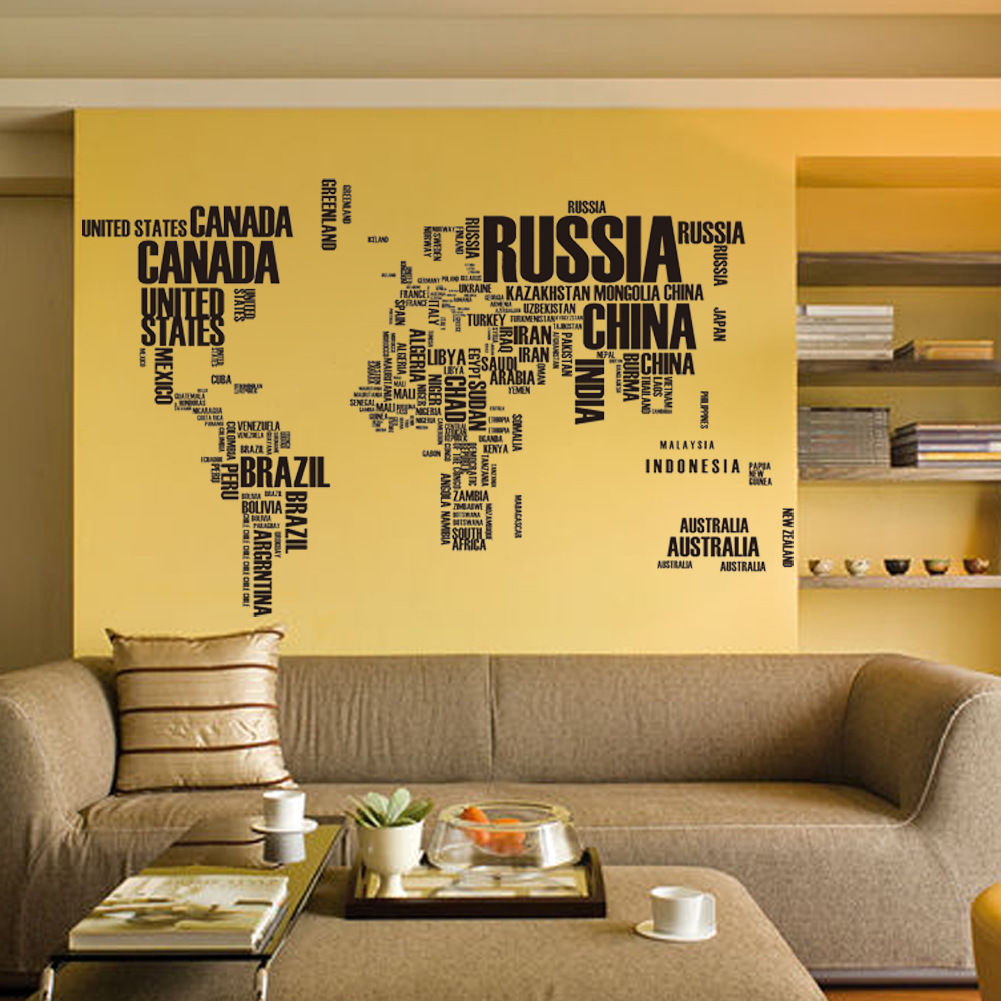 World Map Letters Removable Vinyl Decal Art Mural Wall Stickers Home ...