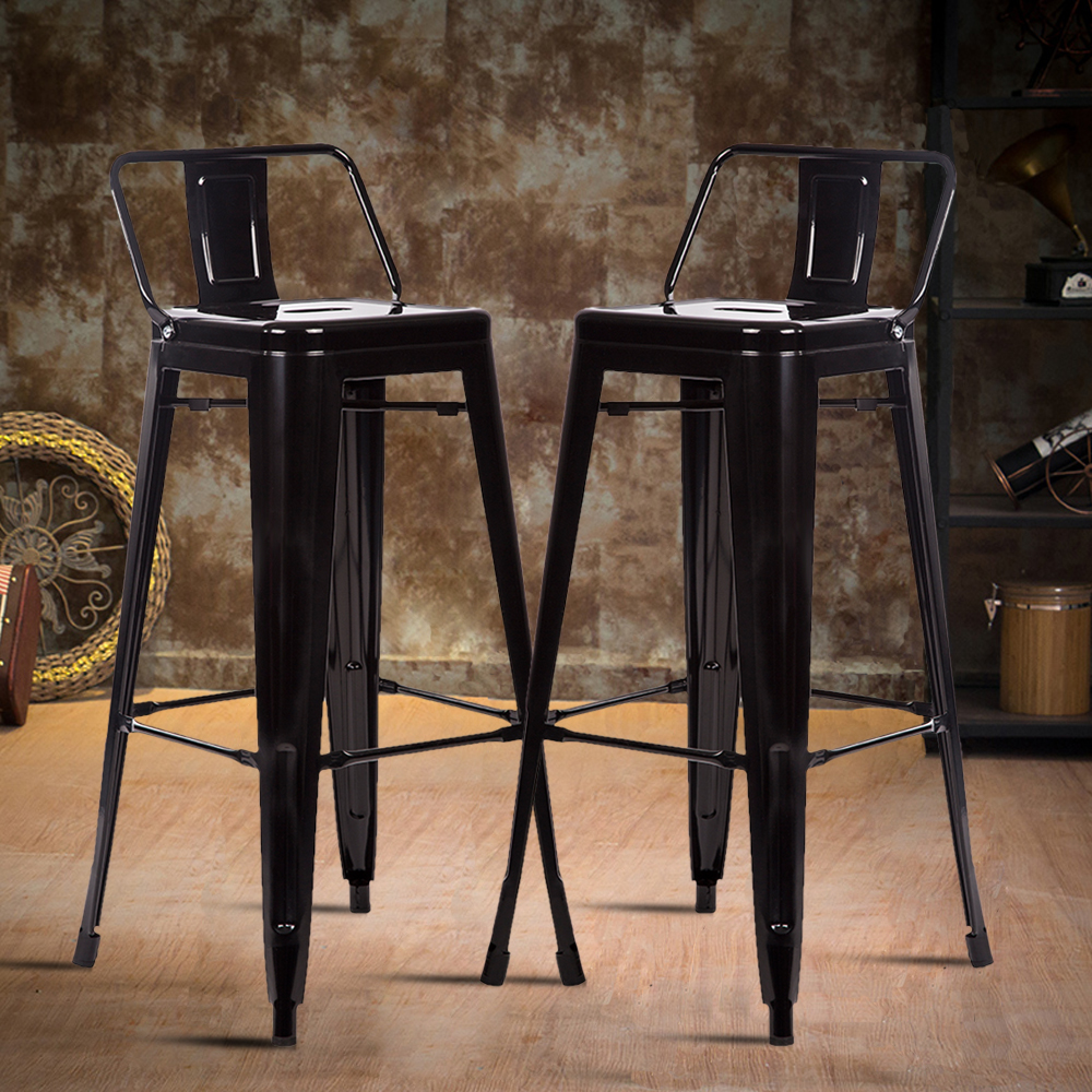 Details About 30 Metal Frame Tolix Style Bar Stools Chair With Back Set Of 2