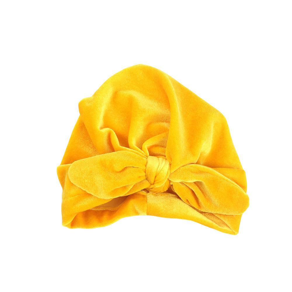 Kleinkind Baby einfarbig Bowknot Turban Hut weichem samt Beanie Mütze Hut