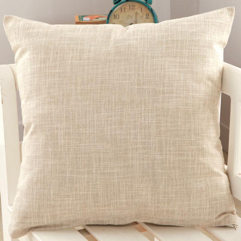 Plain Solid Color Throw Pillow Case Home Sofa Linen Cotton Cushion Cover FN116