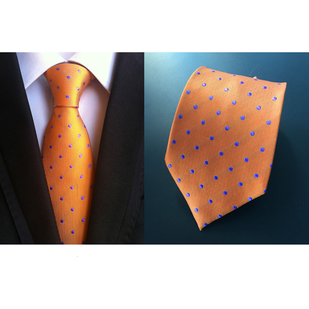 US021 Men Blue White Polka Dot Tie Necktie Pocket Square Handkerchief Set Lot