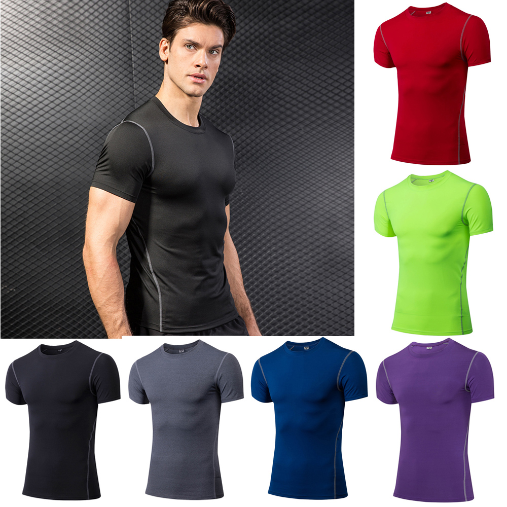 3012af89eaba6 Details about Men Basic Short Sleeve T-Shirt Fitness Running Tops Quick Dry  Athletic Apparel