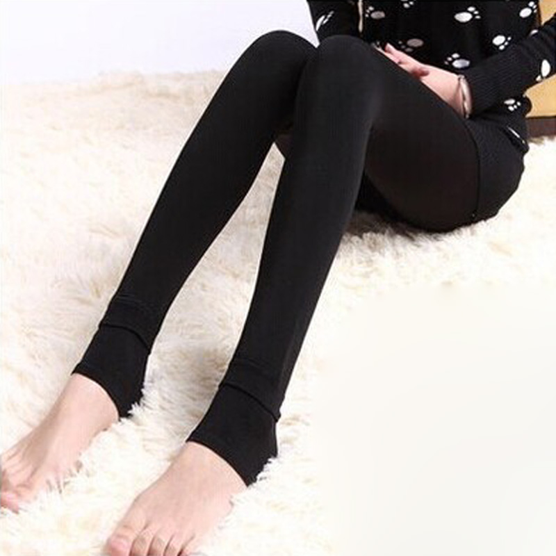 Women Solid Color Velvet Winter Pantyhose Ladies Cotton Warm Tights Hosiery