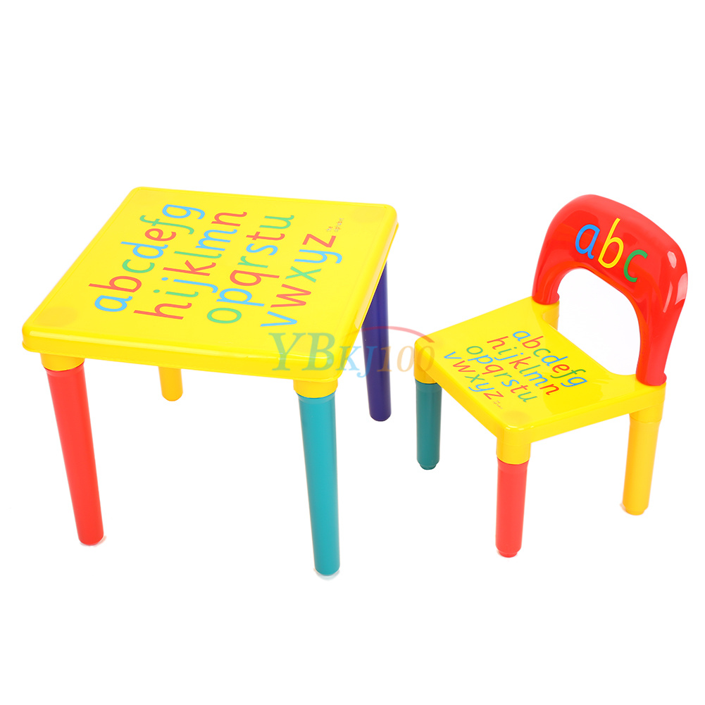 Diy abc alphabet printed children plastic table and chair for Table and chair set