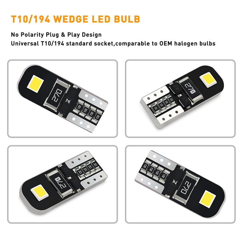 10pcs New Canbus 2825 194 168 W5w Led Light Bulbs 2e Smd