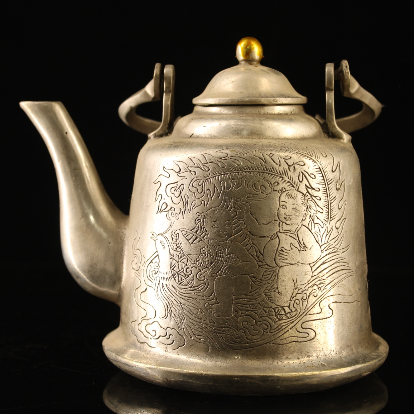 Collection Crush Chinese old Bronze Hand Carved  Dragon Teapot Kangxi Mark