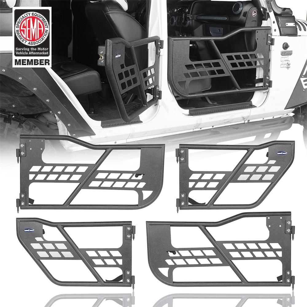 4Pcs Body Armor Complete Front+Rear Tubular Doors for 2007-2018 Jeep Wrangler JK