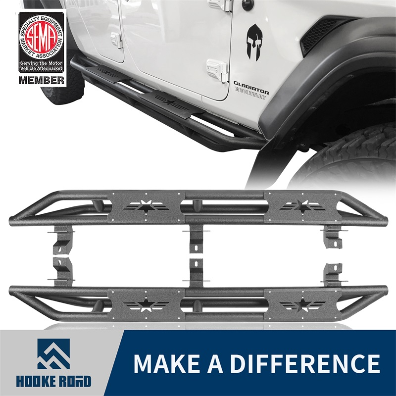 Hooke Road Textured Tubular Side Step Running Board For Jeep
