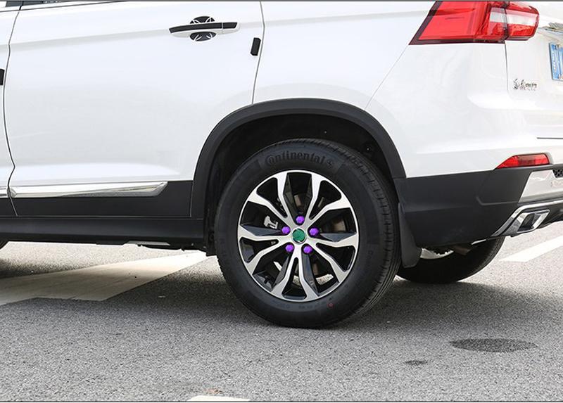 20pc Car Truck Wheel Tyre Hub Screw Bolt Nut 19mm Plastic Cap Accessories Pruple