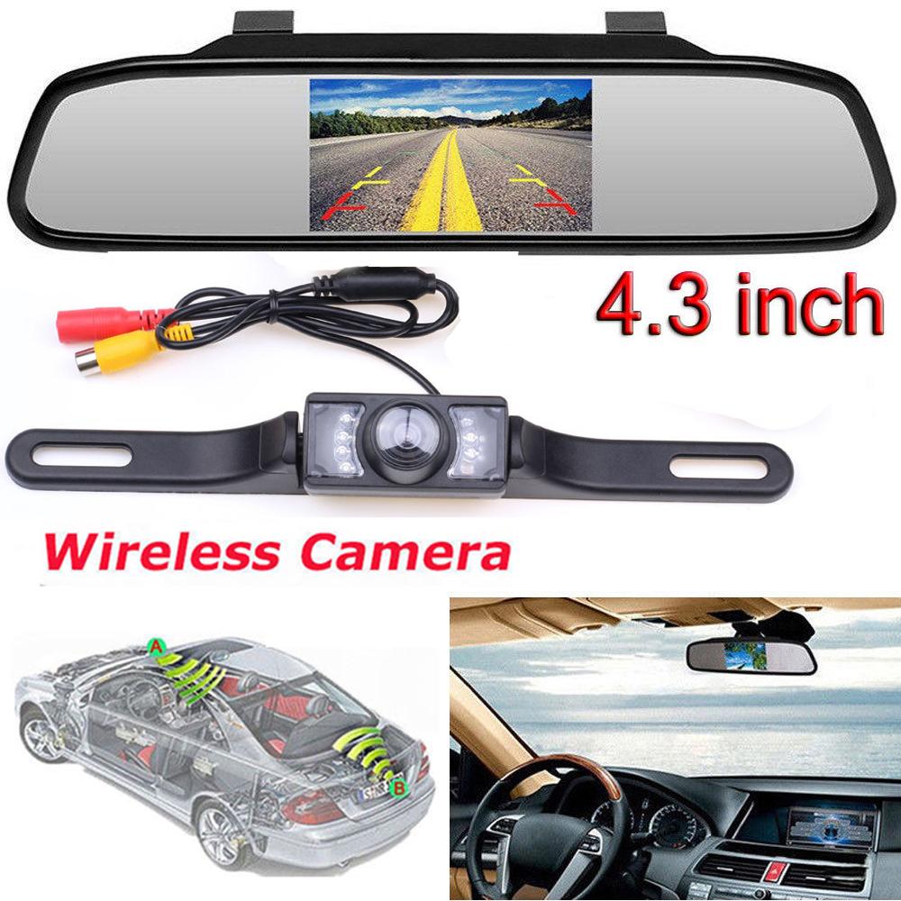 "4.3/"" LCD Screen Car Rear View Backup Mirror Monitor+Wireless Reverse Camera Kit"