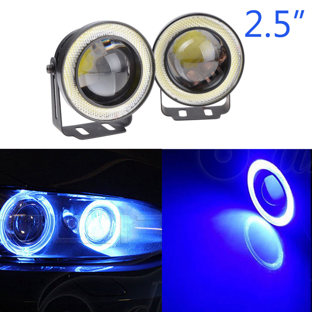 Details About Led Projector Fog Light W Blue Cob Halo Angel Eye Rings For Nissan High
