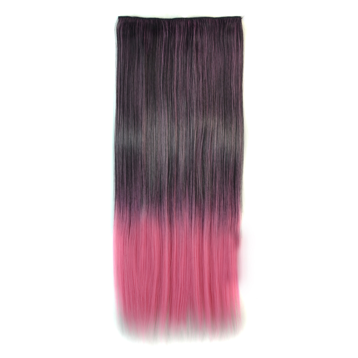 Black Pink Ombre 60cm Long Straight Clip In Hair Extensions 236