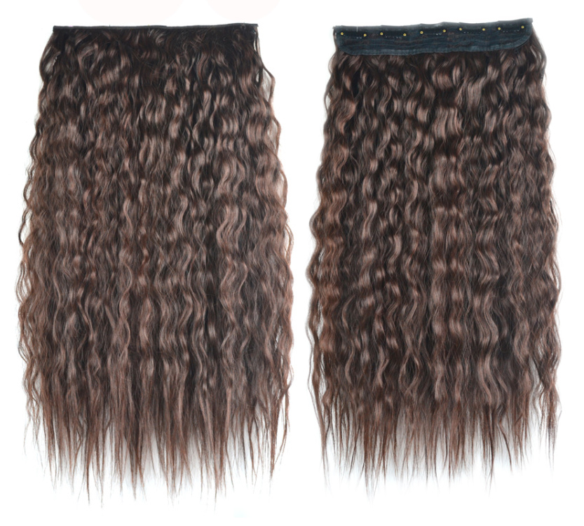 Colorful Ombre Color Fluffy Yaki Long Curly Synthetic Clip In Hair
