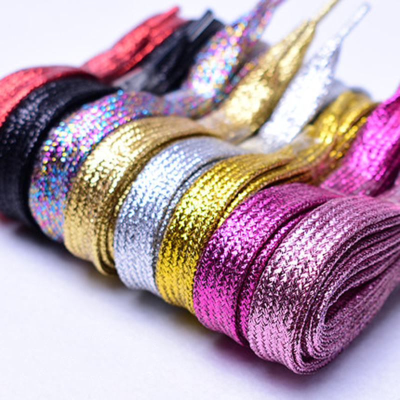 1 Pair Fashion Silver Pearlized Glitter Shoelace Canvas Sneaker Flat Shoe Laces