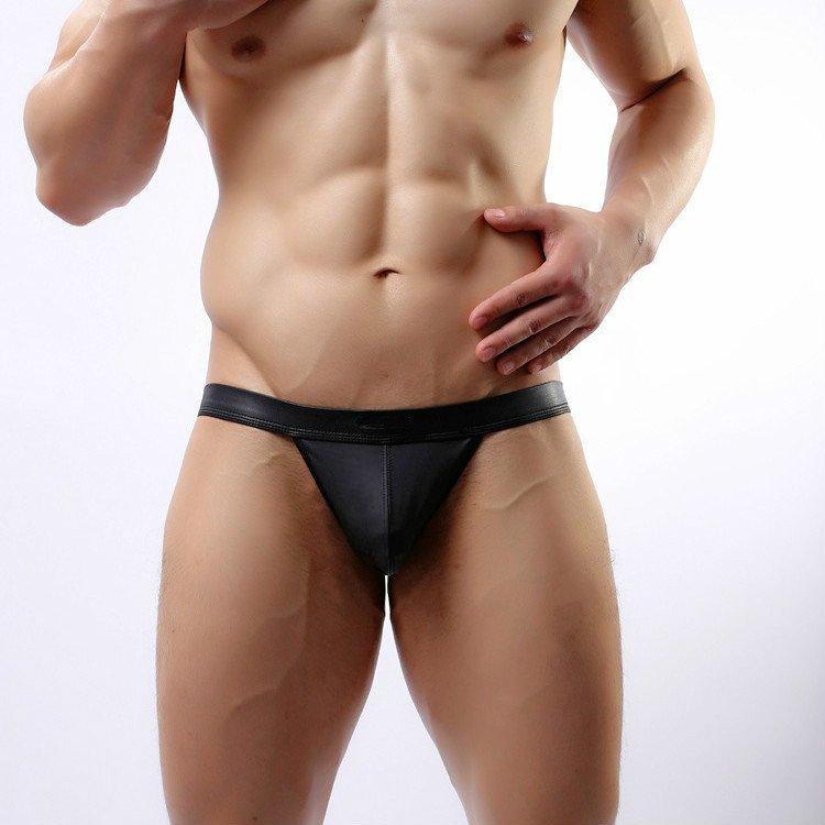 ca8abcdde815a Man Brief Underwear Breathe Bulge PVC Pouch G-String Thong Style Swimwear  Shorts