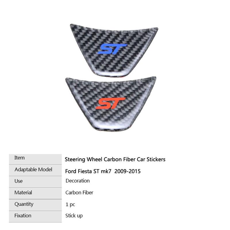 FOR FORD FIESTA ST MK7 ST STEERING WHEEL GEL BADGE CARBON FIBRE STICKER RED//BLUE