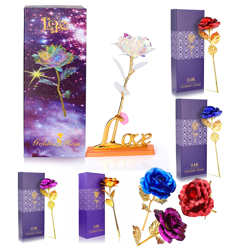 24K Gold Foil Rose Flower LED Luminous Galaxy Mother/'s Day//Valentine/'s Day Gifts